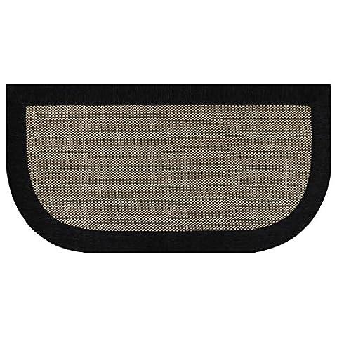 Versatile Slice Kitchen Floor Mat/Area Rug: Brown Basket Weave Design with Black Border, Non-Slip, Cotton Chenille Blend, 20in x - Slice Kitchen Rug