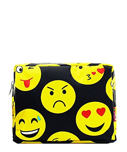 [Emoji Smiley Faces Canvas Cosmetic Pouch Bag] (Zipper Face Costume Makeup)