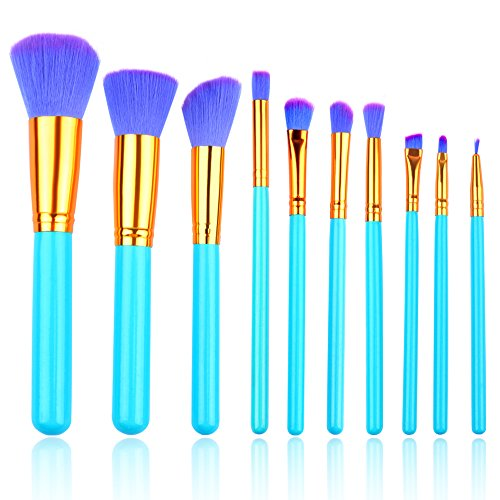 Makeup Brushes, BEAUTING Makeup Brushes Kit 10 Pieces Premium Synthetic Kabuki Foundation Oval Face Eyeshadow Cosmetics Blending Brush Tool ( Blue)