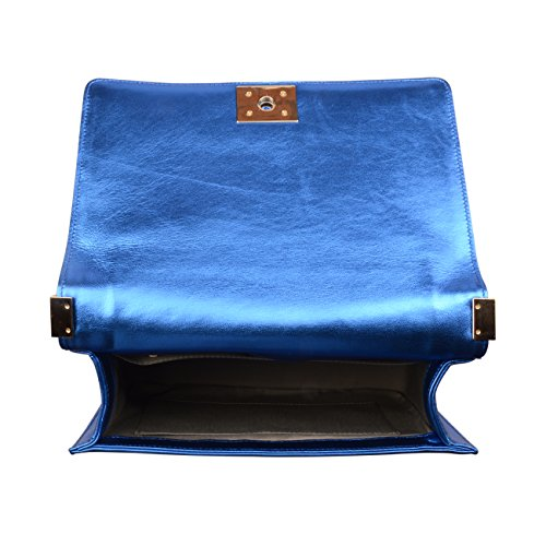Handbags Leather Crossbody Genuine Shine Blue Bag Strap Ainifeel Quilted Chain Women's Hobo YawEq6