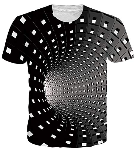 - Alistyle Fanient Unisex 3D Tunnel Printed Short Sleeve Summer Casual T-Shirts Graphics Tees S