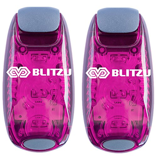 BLITZU Cyborg LED Safety Light 2 Pack + Free Bonuses - Clip On Running Lights for Runner, Kids, Joggers, Bike, Dogs, Walking The Best Accessories for Your Reflective Gear, Night time, Bicycle Pink