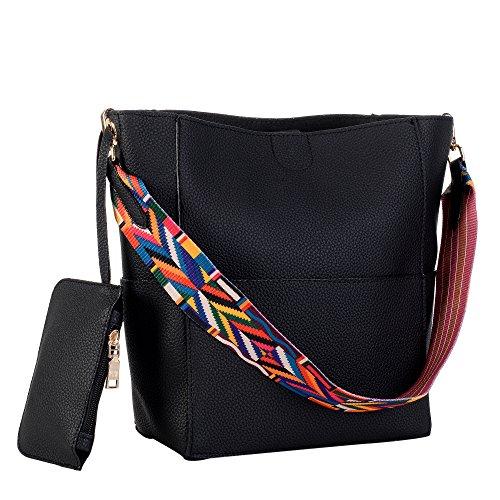 Women's PU Large Litchi Grain Handbag Cross-Body Bag Purse with Colorful Straps Black