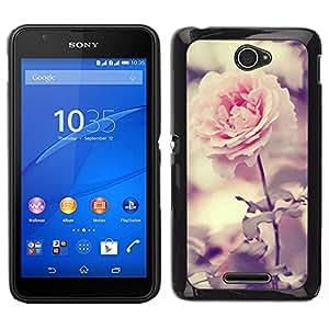 EJOY---Cubierta de la caja de protección para la piel dura ** Sony Xperia E4 ** --Light Pink Rose Garden brillante flor