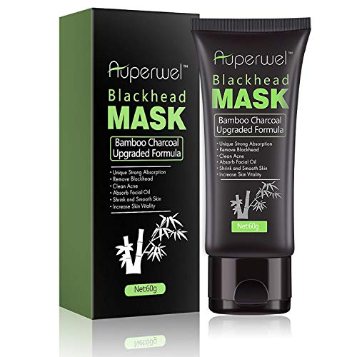 Blackhead Remover Mask Black Mask - Auperwel Purifying Quality Peel off Charcoal Deep Cleaning Mud Facial Mask 2.11 ounce (Black Mask)
