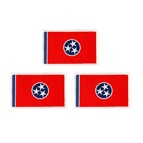 Tennessee TN Flag Patch Bulk 3-Pack 3.5Wx2.25H State Iron On Sew Embroidered Tactical Morale Back Pack Hat Bags (3-Pack Patch)