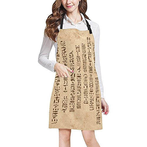 Egyptian Decor Adjustable Kitchen Chef Bib Apron with Pocket for Cooking, Baking, Crafting, - Mirror Zodiac Pocket