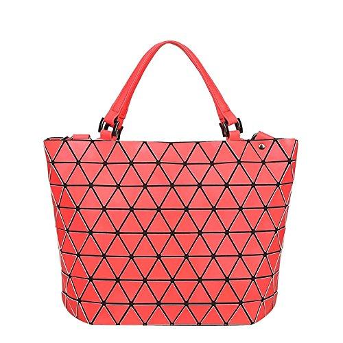 à Red Variety Géométrique à Sac Seau Sac Matte Femmes Bandoulière Sac épaule Main Chameleon Pliable Matelassé zZYWfqwA