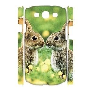3D Yearinspace Kissing Bunnies Samsung Galaxy S3 Cases, Shock Absorbing Samsung Galaxy S3 Cases for Girls Cheap {White}