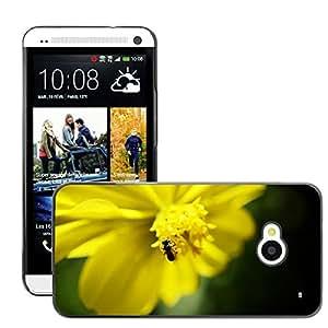 Just Phone Cover Etui Housse Coque de Protection Cover Rigide pour // M00138963 Abeja Flor Amarillo Flor Verano // HTC One M7