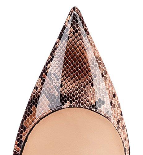 ELASHE Escarpins Femmes Chaussures Stiletto 12cm Talon Aiguille Grande Taille Laçage 1#Python-Marron QNiOK0qb