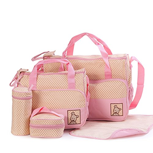 Price comparison product image Moolecole 7 in 1 Mommy Tote Bag Travel Bag Diaper Bag Set (Pink)