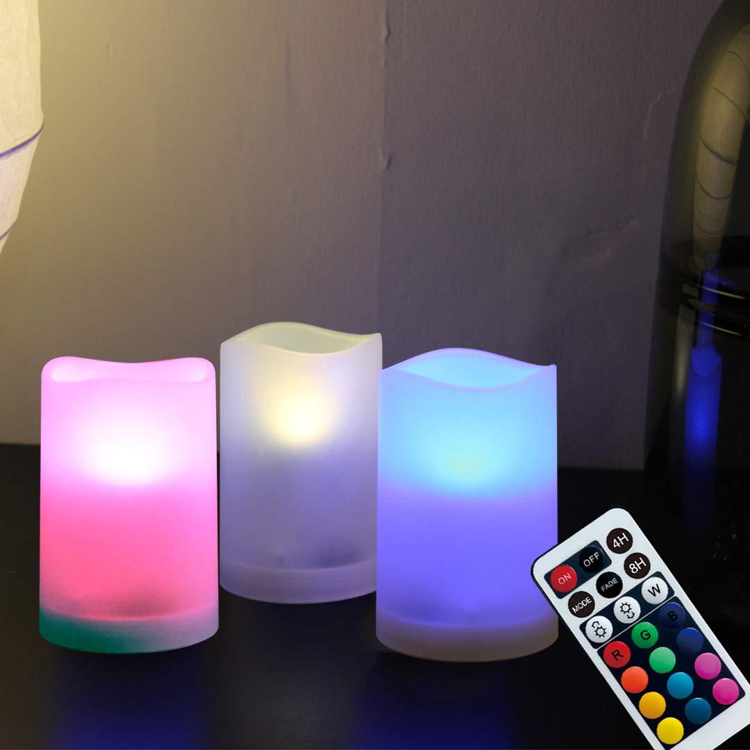 WRalwaysLX candele senza fiamma candele decorative,7esterno ed interno luce tremolante a LED che cambia colore, con telecomando e timer, set di 36,3cm D X4H da 3batterie AAA (non incluse)