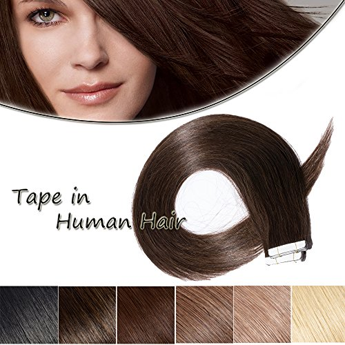 100% Remy Tape in Human Hair Extension 20'' Bonding Double Sided Tape Professional Straight Seamless Skin Weft Hair 20Pcs/50g (Dark Brown #2) + 10pcs Free - Fashion Place Mall