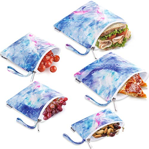 BALORAY Reusable Sandwich Bags Leak-proof Snack Bags - Set of 5 Pack Washable Reusable Food Bags Lunch Bags Storage Bags Dual Layer Eco Friendly Lunch Baggies, BPA Free (Purple)