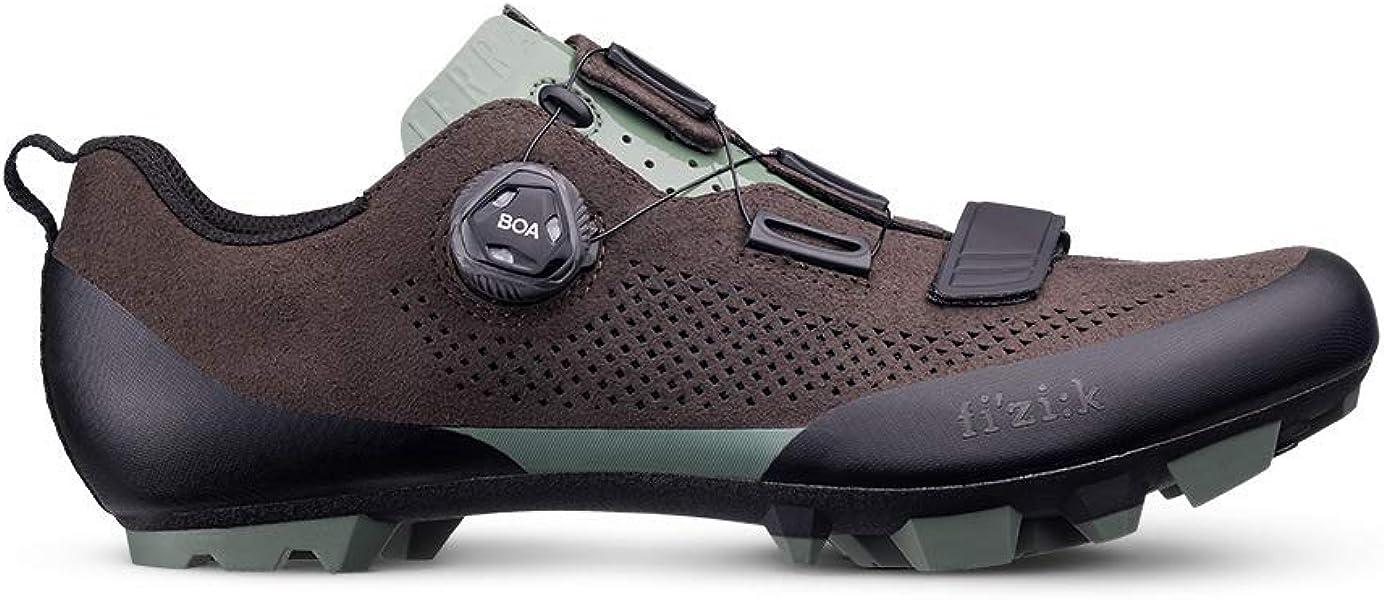 Fizik - Zapatillas de Ciclismo de Cuero para Hombre Marrón Marrón Oscuro
