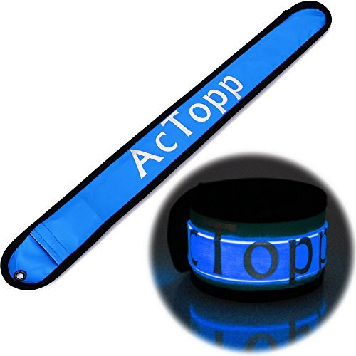 AcTopp LED Slap Bracelet With Reflective Edge, Night Running Sweat Resistant Safety Wristband, 3 Glowing LED Modes for Jogging, Cycling, Walking, Fits Women, Men & Kids, and Pets (Blue)