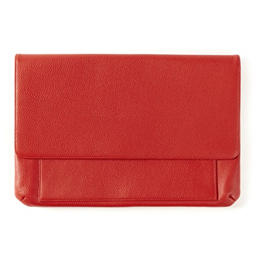 Clutch Notebook Carrying Case - Laptop Clutch - Full Grain Leather Leather - Scarlet (red)