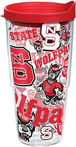 (Tervis 1256483 NC State Wolfpack All Over Insulated Tumbler with Wrap and Red Lid 24oz Clear)