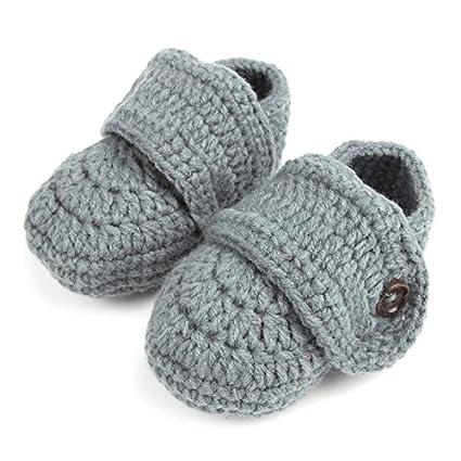 1 par de bebés lindos niños pequeños bebé ganchillo suave tejer zapatos de cuna caminar calcetines