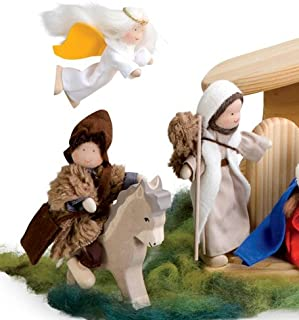 product image for Magic Cabin Kathe Kruse Handcrafted Nativity Characters, Set of 3, in Shepherds & Angel