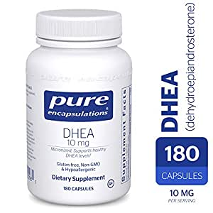 Pure Encapsulations - DHEA (Dehydroepiandrosterone) 10 mg - Micronized Hypoallergenic Supplement - 180 Capsules