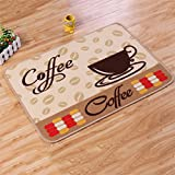 Kitchen Rugs Coffee Cups JYS365 Super Soft Non-slip Kitchen Mat Rug Coffee Cup Pattern Small Rug Bedroom Carpet