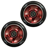 Ten Eighty 100mm Ninja Stunt Scooter Wheels (Pair) - Red/Black