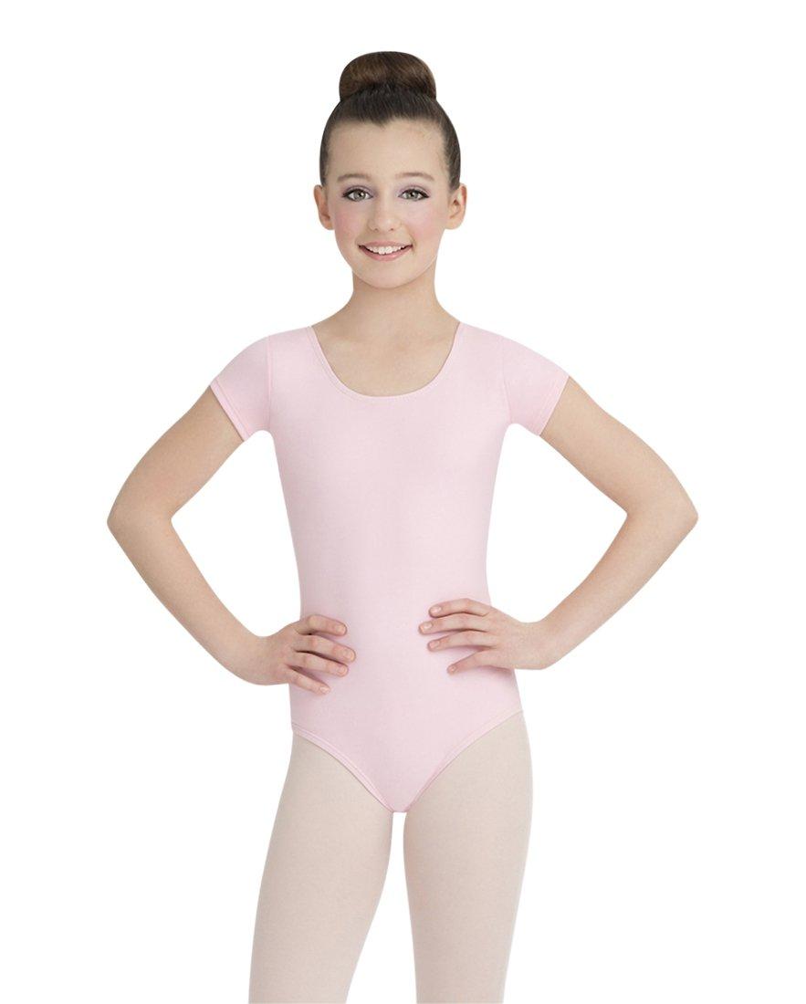 Capezio Girls Short Sleeve Leotard, Pink, Intermediate