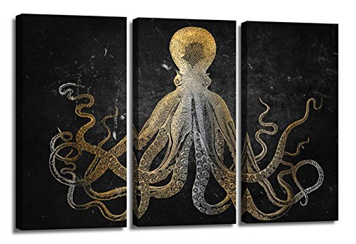 YYL ART Modern Art Gold and silver Octopus Canvas Art Picture Printed on Canvas Stretched and Framed For Home Retro Marine Life Hand Painted Sketch Background with White Octopus Wall (Plastic Silver Canvas)
