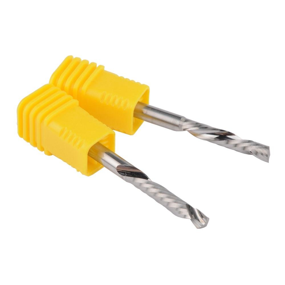 HOZLY 4x22mm Up&Down Cut- One Single Spiral Flute Carbide CNC End Mill Pack Of 2 by HOZLY (Image #2)