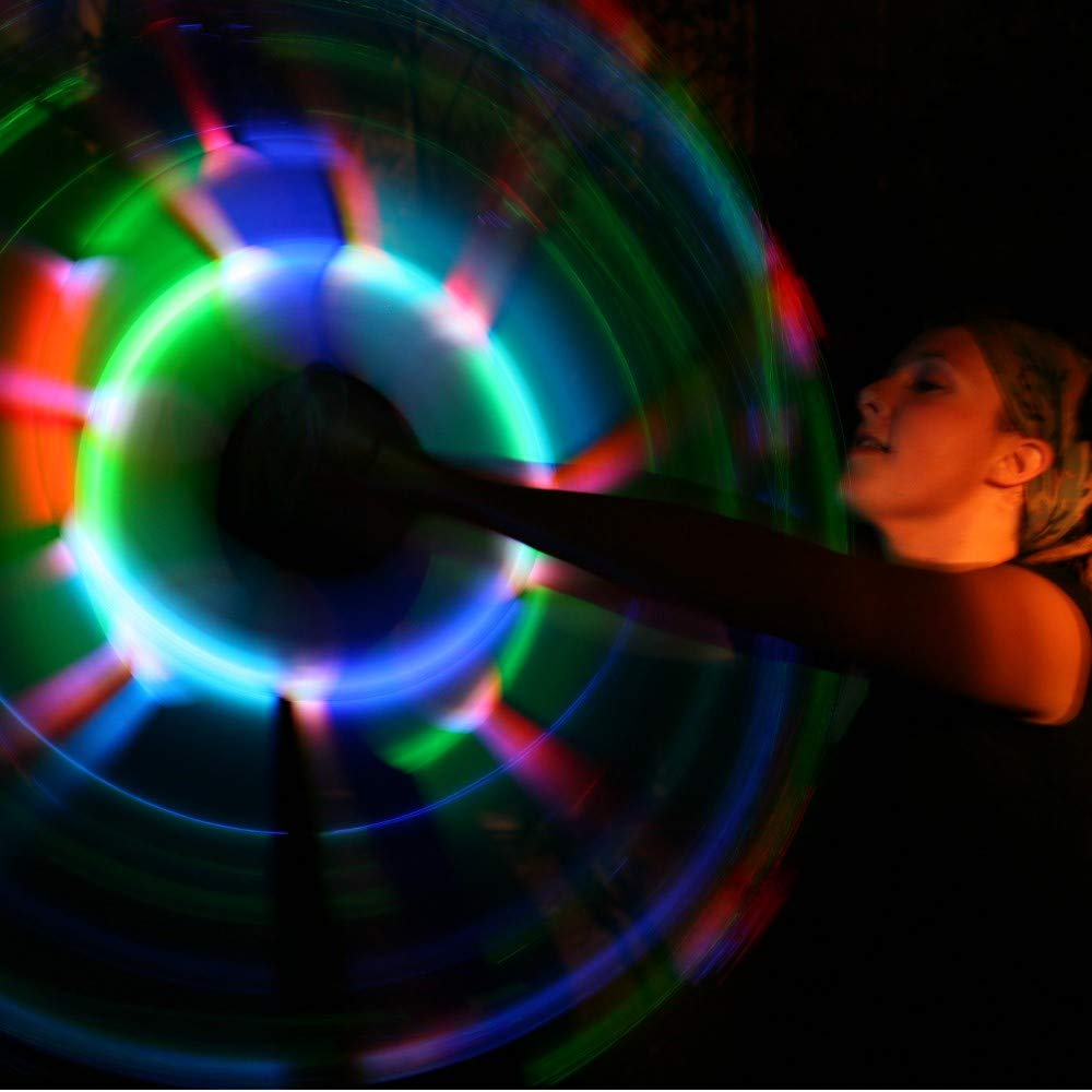 Speevers LED Poi Optic Fiber Poi for Professionals - Exciting Light Show and Fast USB Charge - Strobe & Fade Light Programs - LED Prop for Spinners 1 Year Warranty by Speevers (Image #7)
