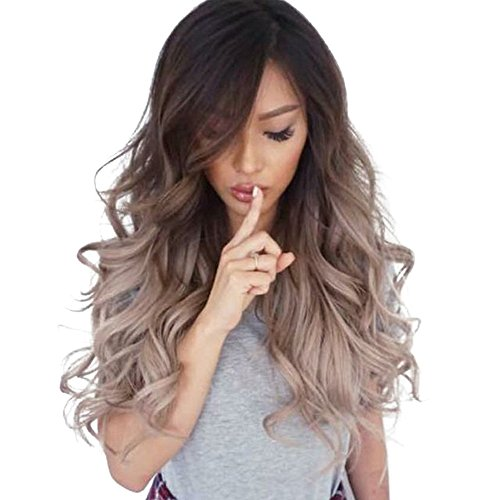 Mysky Fashion Women No Lace Front Loose Long Wavy Wig Ladies Gradient Natural Curly Full Hair Wigs