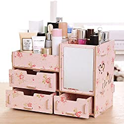 Tamengi Makeup Organizer Case Cosmetic Organizer Wood Box Assembly With Mirror