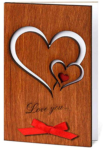 handmade real wood love you hearts card unique romantic valentine s