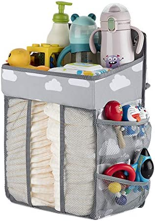 Hanging Diaper Caddy-Diaper Stacker for Changing Table,Crib, Playard or Wall,Diaper Holder Organizer Hanging,Baby Essentials Storage (Gray)