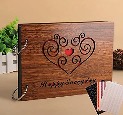 Yalis 8 Inches 30 Sheets DIY Hollow Wood Photo Album Anniversary Scrapbook Sets for Fuji Films Instax Films, with 918 Pcs Corner Stickers and Decor Sticker for Free(Happy - Wood Photo Album Book