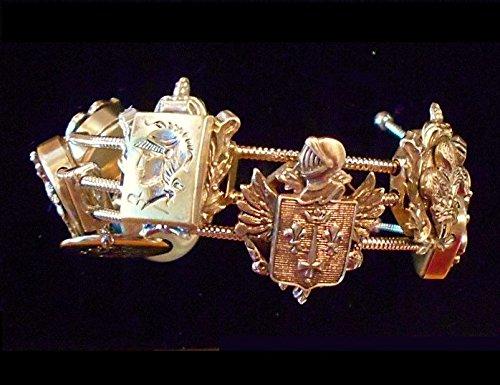n Style Slide Bracelet, 8 GP SLIDES w/ Centurions, Heraldic Armor, Helmeted Knights, Coat of Arms, Black Cameo ()