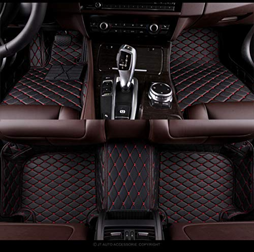 sunmir (TM Fit for Alfa Romeo Stelvio 2017~2018 Leather Car Floor Mats Waterproof Mat (Black/red)