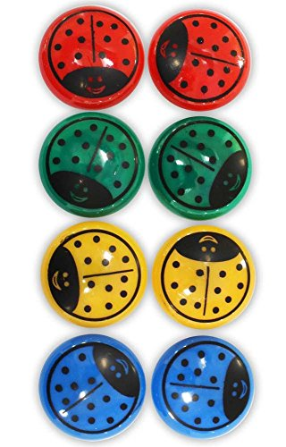 8 Piece Colorful Ladybug Magnet Set In Red, Green, Yellow, And Blue- Each is 1-1/2 Inches: MC6064-8-YX
