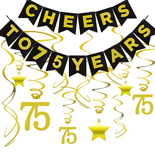 75th BIRTHDAY PARTY DECORATIONS KIT - Cheers to 75 Years Banner, Sparkling Celebration 75 Hanging Swirls, Perfect 75 Years Old Party Supplies 75th Anniversary Decorations -
