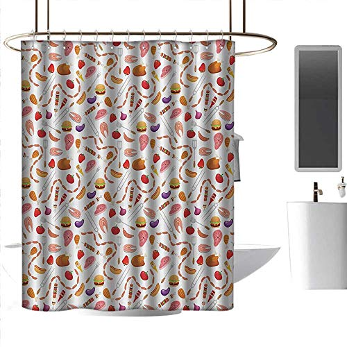 Shower Curtains with Valance BBQ Party,Grilling Themed Food Elements Hamburger Hotdog Steak and Sausage Pattern Cooking,Multicolor,W72 x L96,Shower Curtain for Girls Bathroom ()