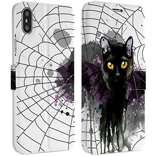 Wonder Wild Black Cat IPhone Wallet Case 10 X/Xs Xs Max Xr 7/8 Plus 6/6s Plus Card Holder Accessories Smart Flip Hard Design Protection Cover Animals Bat Spider Web Magic Salem Kitten Halloween Paint ()