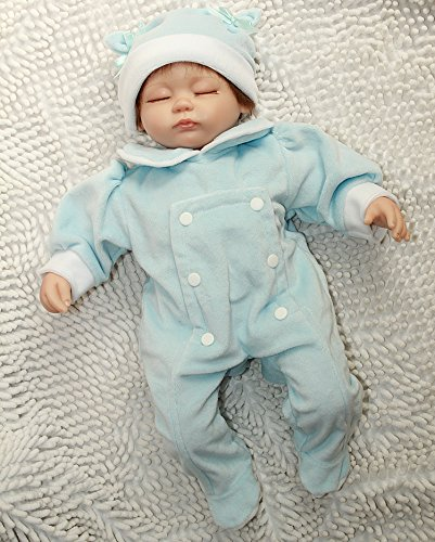 Npkdoll Reborn Baby Doll Soft Simulation Silicone Vinyl Cloth Body 18inch 45cm Magnetic Lovely Lifelike Vivid Cute Boy Girl Toy for Ages 3+ Blue Dress Eyes Close
