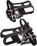 Wellgo LU-964 Platform Pedal with Toe Clip and Strap, 9/16-Inch, Black