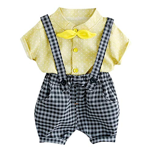 Kirbyates Toddler Kids Baby Girl Boys Dot Bow Tops Top + Plaid Overall Shorts Pants Two-Piece Set Outfits Yellow