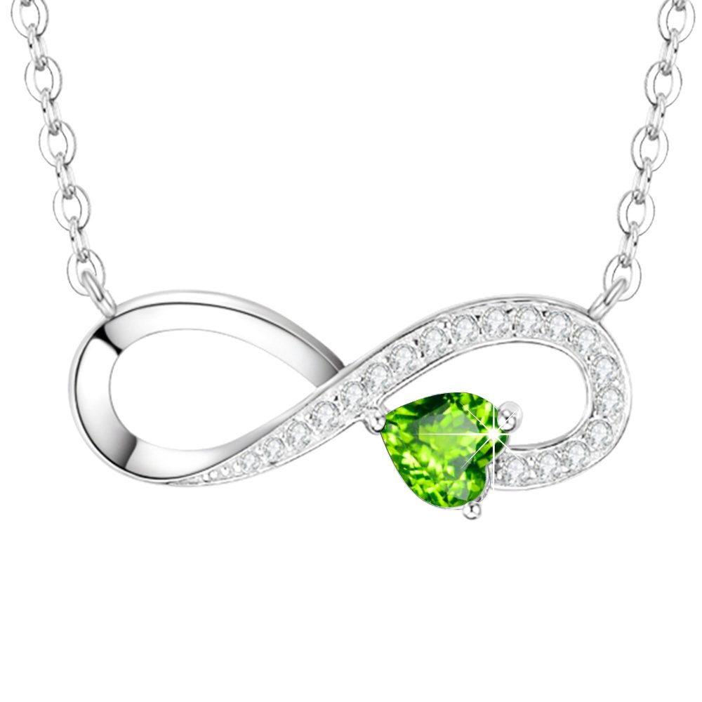 August Birthstone Love Infinity Jewelry Gifts for Women Wife Green Peridot Love You Forever Pendants Necklace Birthday Anniversary Gifts for Her Daughter Lady Sterling Silver Swarovski 18''+2'' Chain
