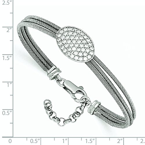 Argent sterling CZ Bracelet poli avec 2,5cm ext.
