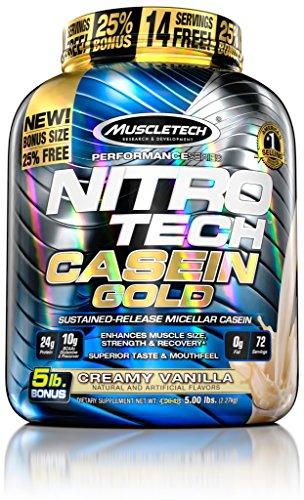 MuscleTech NitroTech Casein Gold 100% Protein Powder, Cre...