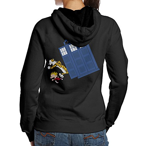 [BNBN Women's Calvin And Hobbes Doctor W Hoodie On The Back Size L Black] (Calvin And Hobbes Couple Costume)